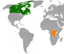 Map indicating locations of Canada and Democratic Republic of the Congo