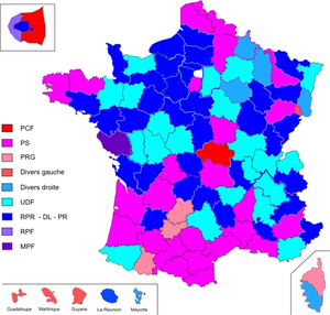 Departments of France - Image: Cantonales 1998(dom)