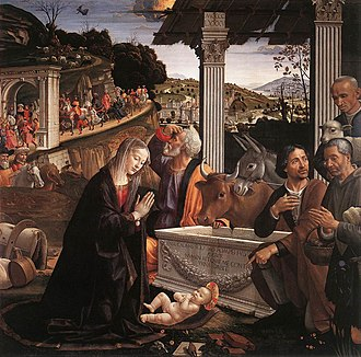 Domenico Ghirlandaio - The Adoration of the Shepherds, Sassetti Chapel, contains a portrait of Ghirlandaio as one of the Shepherds.