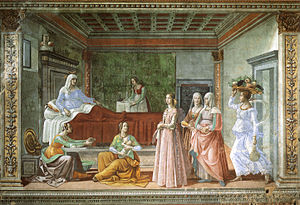 Nativity of Saint John the Baptist -  Tornabuoni Chapel by Domenico Ghirlandaio and workshop, 1485–1490