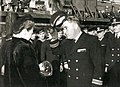 Captain Ernest Evans at USS Johnston launching ceremony.jpg