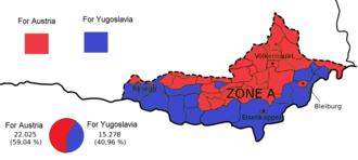 Carinthian plebiscite, 1920 - Image: Carinthian referendum results by municipality, 1920