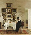 Carl Holsøe Mother and child in a dining room interior.jpg