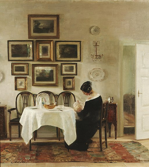 Carl Holsøe Mother and child in a dining room interior
