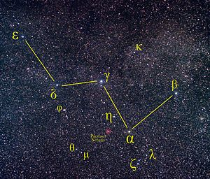 Alpha Cassiopeiae - Cassiopeia starfield showing α Cas, the orange giant, in relation to the other stars in the constellation.