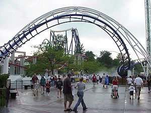 Coasters inside the Cedar Point amusement park...