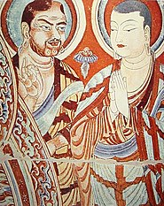 A painting depicting a Central Asian Tocharian monk (left) along with a Chinese monk (right). The painting is from the 9th or 10th century in the Tarim Basin.