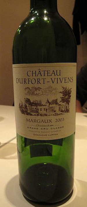 Château Durfort-Vivens - A bottle from the 2003 vintage.