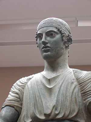 Charioteer of Delphi - Image: Charioteer of Delphi detail of head