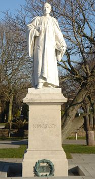 A statue of Charles Kingsley at Bideford, Devon (UK)