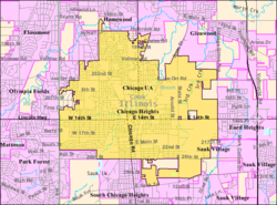 2009 U.S. Census Bureau map of Chicago Heights