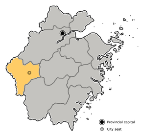 Quzhou is highlighted on this map