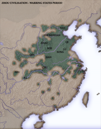 Qin's wars of unification - China in the Warring States period. Many of the smaller states, such as Ba and Zhongshan, had been conquered by the time Ying Zheng became the King of Qin. In particular, Ba and Shu were conquered by Qin, Zhongshan by Zhao, Lu by Chu, and Song by Wei and Qi.