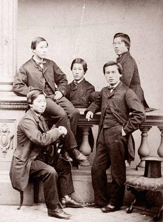 Chōshū Five - Clockwise from top left: Endō Kinsuke, Nomura Yakichi, Itō Shunsuke, Yamao Yōzō, and Inoue Monta, photographed in 1863