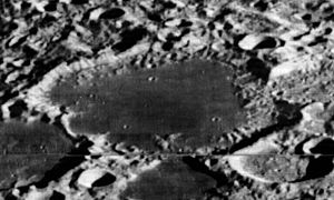Chrétien (crater) - Oblique Lunar Orbiter 2 view, facing south
