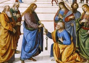 Painting a haloed Jesus Christ passing keys to a kneeling man.
