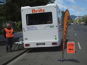 New Zealand general election, 2011 - Advance voting in campervans in Christchurch. Campervans were used as many of the polling stations used at previous elections are unavailable due to the 2010 and 2011 earthquakes.