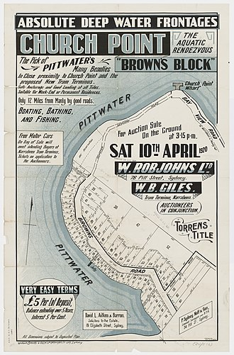 """Church Point, New South Wales - Image: Chuch Point """"Browns Block"""" Pittwater Browns Rd, Quarter Session Rd, Bay View Rd, 1920"""