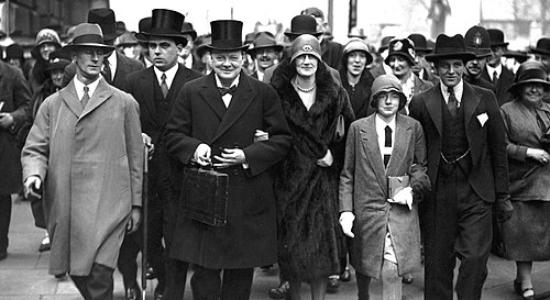 Churchill on Budget Day with his wife Clementine and children Sarah and Randolph, 15 April 1929. Churchill-on-budget-day.jpg