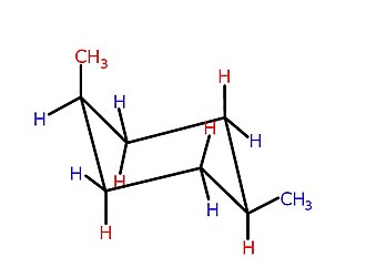 Cyclic compound - cis-1,4-Dimethylcyclohexane, in chair form, minimising steric interactions between the methyl groups in the directly opposing 1,4-positions of the cyclohexane ring.