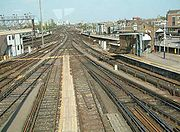 The railway junction at Clapham Junction, facing east