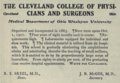 """Cleveland College of Physicians and Surgeons; Medical Department of Ohio Wesleyan University (""""American medical directory"""", 1906 advert).png"""