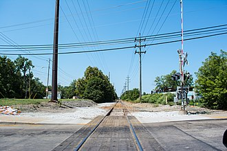 Cleveland Commercial Railroad - Former Cleveland and Mahoning Valley tracks, now leased by the CCR, at Harvard Avenue in Cleveland, Ohio