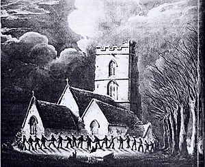 Clipping the church - Clipping the church at Church of St Lawrence, Rode. Painting by W. W. Wheatley in 1848