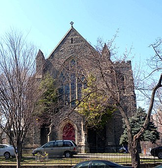 Kingsbridge, Bronx - Looking west across Kingsbridge Avenue at Episcopal Church of the Mediator