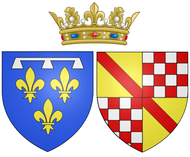 Coat of arms of Auguste of Baden-Baden as Duchess of Orléans.png