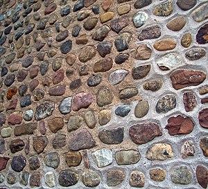 Cobblestone Historic District - Image: Cobblestone west wall detail, 1834 Universalist Church, Childs, NY