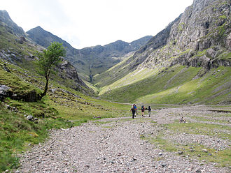 Bidean nam Bian - Coire Gabhail, the Lost Valley or Hidden Valley, leads up to the Bidean ridge: the peak of Stob Coire Sgreamhach is left of centre, with the slopes of Gearr Aonach to the right.