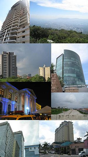 San Salvador - Collage of pictures of the San Salvador Metro Area, mostly recent buildings. From top: Alisios 115 (left) panorama (right), San Benito District (left), World Trade Center Torre Futura (right), National Palace (left), Monseñor Romero Boulevard (right), Financial Center (left), Hilton Princess San Salvador (right)