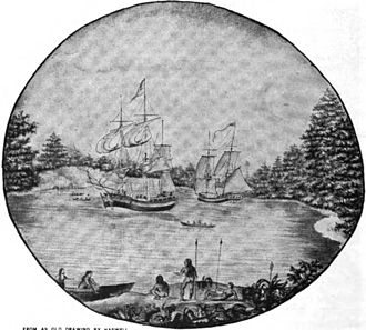 Robert Haswell - Haswell's drawing of the Columbia and Hancock, from his second journal