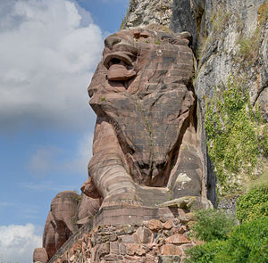 Lion of Belfort - The face of the red sandstone lion.