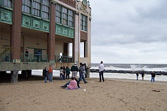 Asbury Park Convention Hall - South rear side of Convention Hall, as fans on beach listen to a closed Bruce Springsteen rehearsal. Late September 2004.