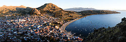 Panoramic view of Copacabana, at the shore of Lake Titicaca.