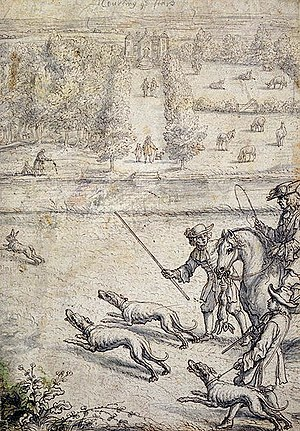 Francis Barlow (artist) - Coursing the Hare, illustration by Barlow to Richard Blome's The Gentleman's Recreation, 1686