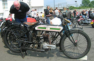 Vehicle registration plates of the United Kingdom - Vintage Triumph motorcycle with front plate