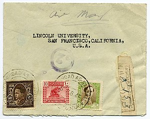 Postage stamps and postal history of Iraq - Registered mail sent in August 1945, with stamps from the series of 1934, 1941, and 1942