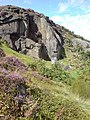 Crag by Coldstone Beck, Burley Moor - geograph.org.uk - 528908.jpg