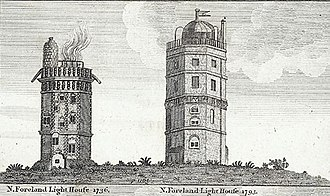 North Foreland - Comparative view: North Foreland Lighthouse in 1736 and in 1793.