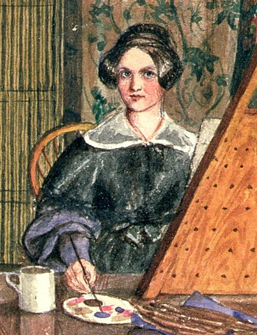 Image shows a watercolour painting of a woman painting at an easel