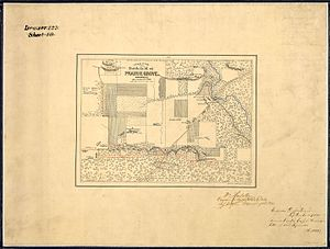 Battle of Prairie Grove - Image: Croquis of the Battlefield of Prairie Grove, Arkansas. December 7th, 1862. Drawn by T. W. Williams, NARA 305669