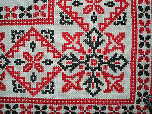 Counted-thread embroidery - Counted cross-stitch embroidery, Hungary, mid-20th century