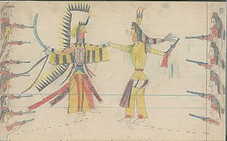 Crow Nation - Ledger drawing of a Cheyenne war chief and warriors (left) coming to a truce with a Crow war chief and warriors (right)