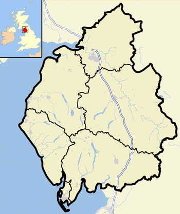 Cumbria outline map with UK