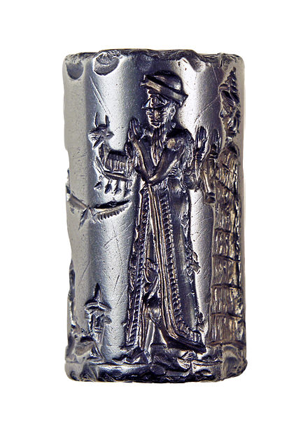 Old Babylonian cylinder seal, hematite. This seal was probably made in a workshop at Sippar (about 40 miles (64 km) north of Babylon on the map above) either during, or shortly before, the reign of Hammurabi. It depicts the king making an animal offering to the sun god Shamash. Cylinder Seal, Old Babylonian, formerly in the Charterhouse Collection 03.jpg