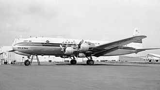 Japan Airlines - A Japan Airlines Douglas DC-6A (named City of Nara) at San Francisco International Airport in March 1954