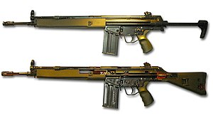 The Heckler & Koch G3A4 (top) and G3A3 cutaway (bottom)